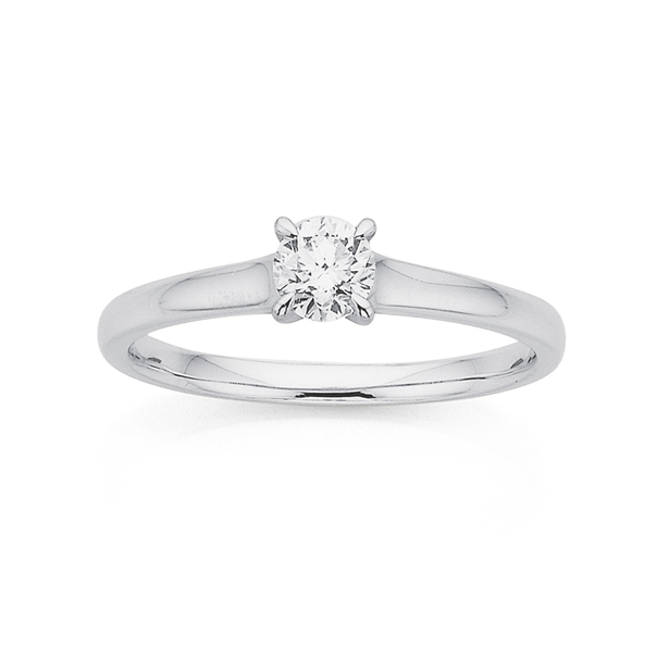 9ct White Gold .35ct Diamond Solitaire Ring