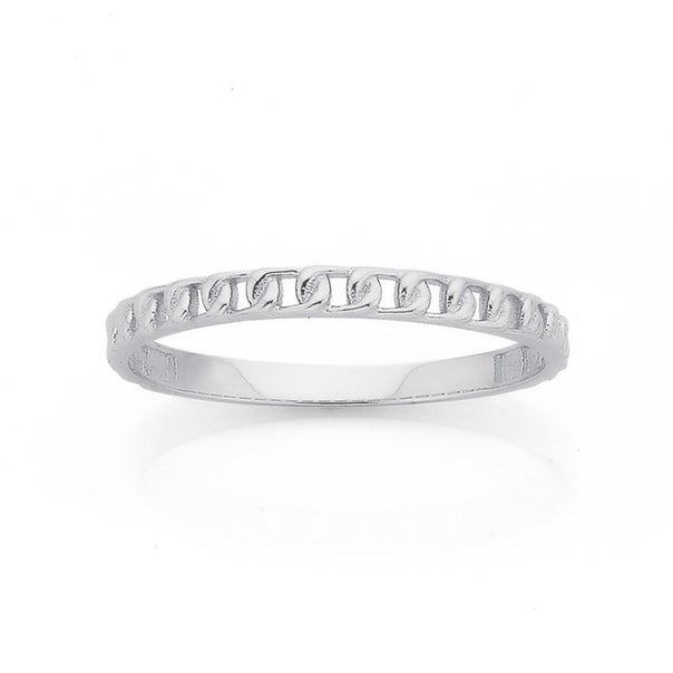 9ct White Gold Chain Link Stacker Ring