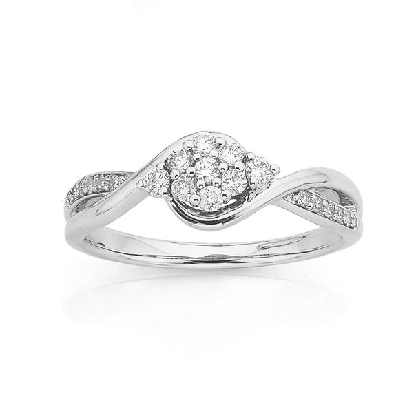 9ct White Gold Cluster Diamond Ring TDW=.25ct