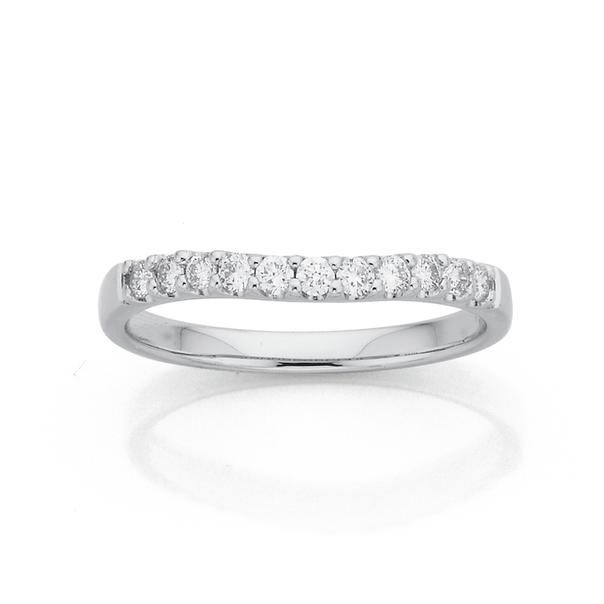 9ct White Gold Curve Diamond Ring TDW=.25ct