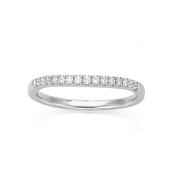9ct White Gold Curved Diamond Ring TDW=.15ct
