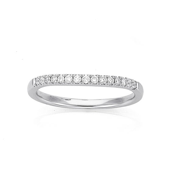 9ct White Gold Curved Diamond Ring Total Diamond Weight=.15ct