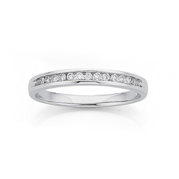 9ct White Gold Diamond Channel Band