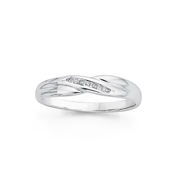 9ct White Gold Diamond Channel Set Crossover Ring