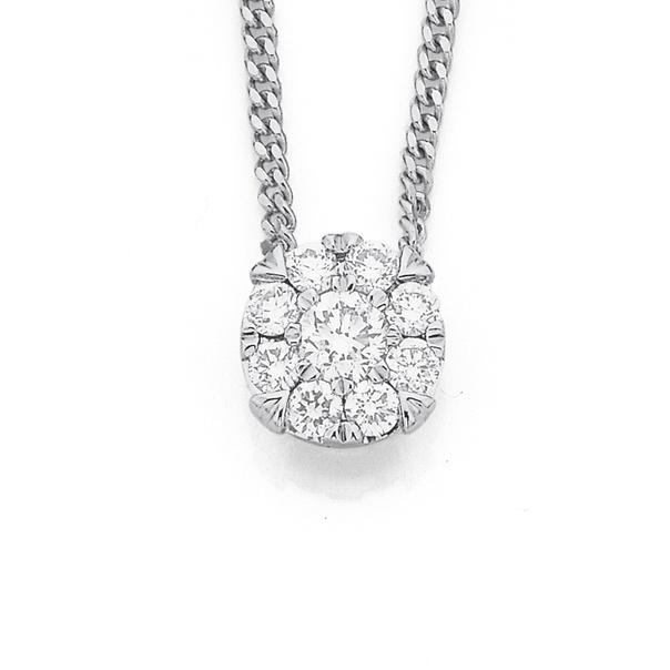 9ct White Gold Diamond Cluster Pendant TDW=.25ct