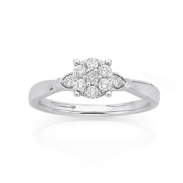 9ct White Gold Diamond Cluster Ring TDW=.25ct