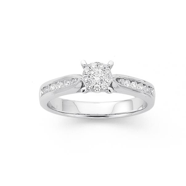 9ct White Gold Diamond Cluster Ring TDW=.40ct