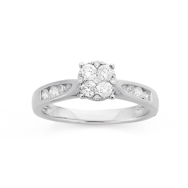 9ct White Gold Diamond Cluster Ring TDW=.50ct
