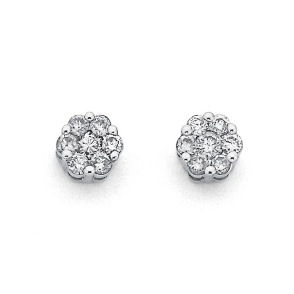 9ct White Gold Diamond Cluster Studs Total Diamond Weight=.33ct