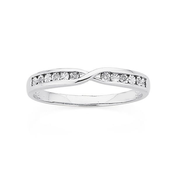 9ct White Gold Diamond Miracle Set Crossover Band