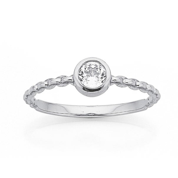 9ct White Gold Diamond Cubic Zirconia Chain Link Ring