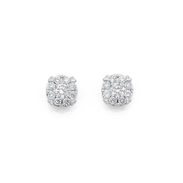9ct White Gold Diamond Earrings TDW=.50ct