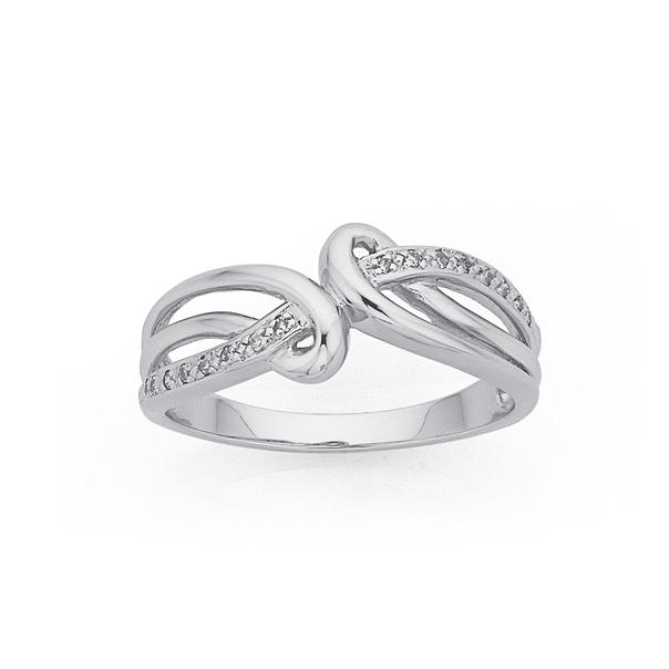 9ct White Gold Diamond Loops Swirl Ring