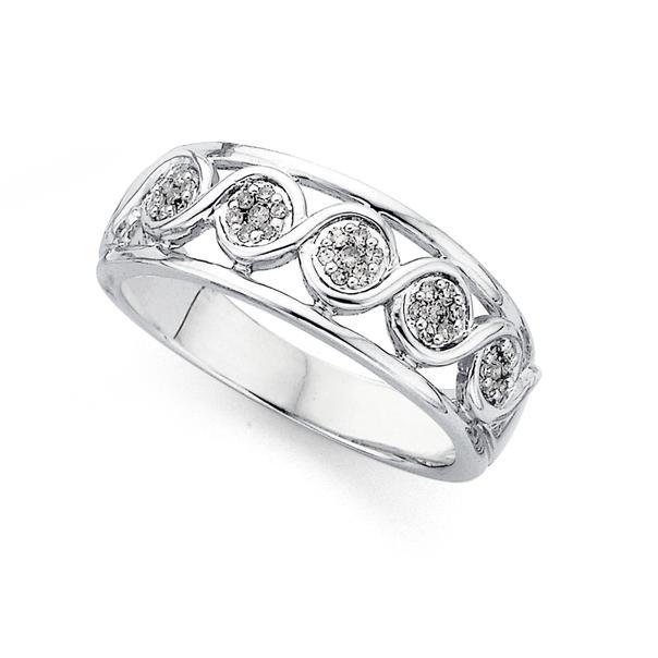 9ct White Gold Diamond Multi Cluster Ring TDW=0.15ct