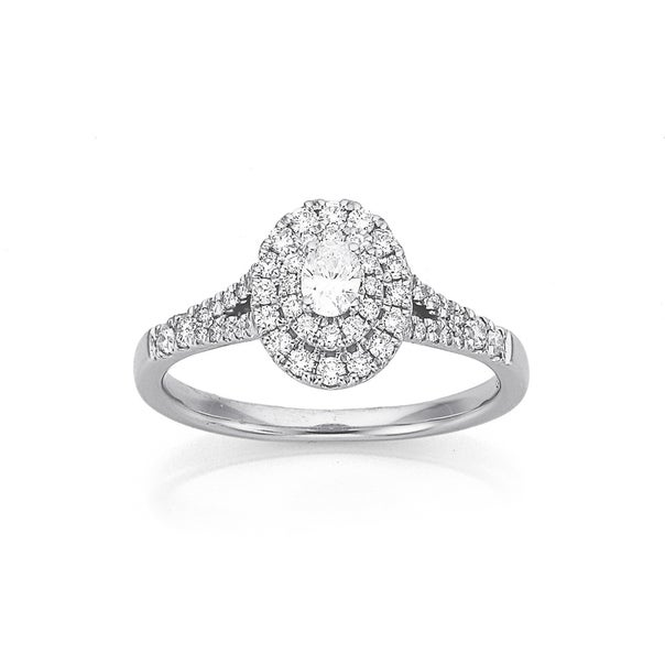 9ct White Gold Diamond Oval Halo Ring Total Diamond Weight=.50ct