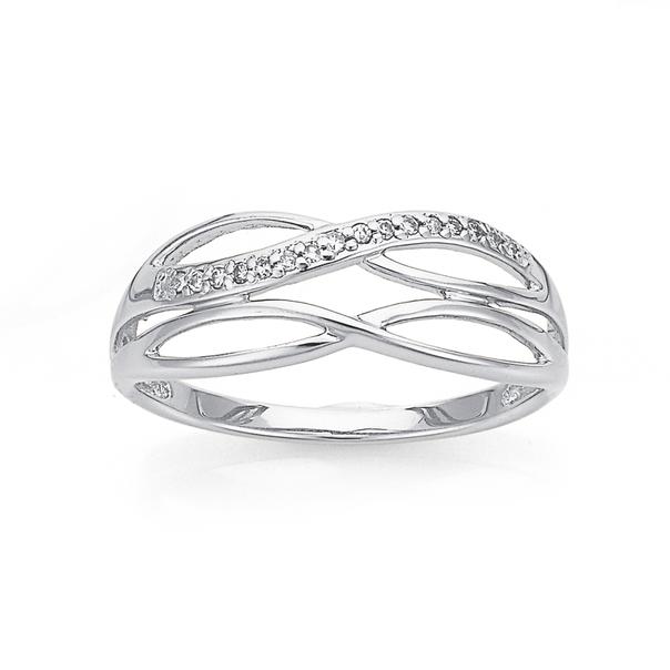 9ct White Gold Diamond Ring TDW=.05ct
