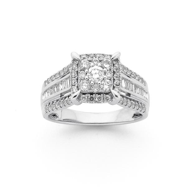9ct White Gold Diamond Ring TDW=1.00ct