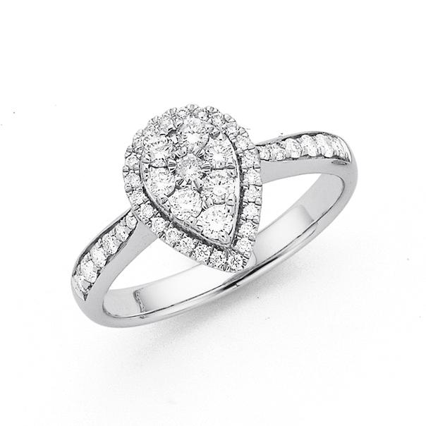 9ct White Gold Diamond Ring TDW=.50ct