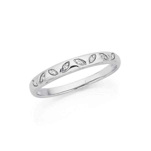 9ct White Gold Diamond Set Leaf Ring