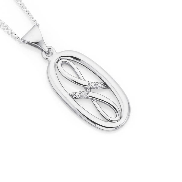 9ct White Gold Diamond Set Oval Pendant