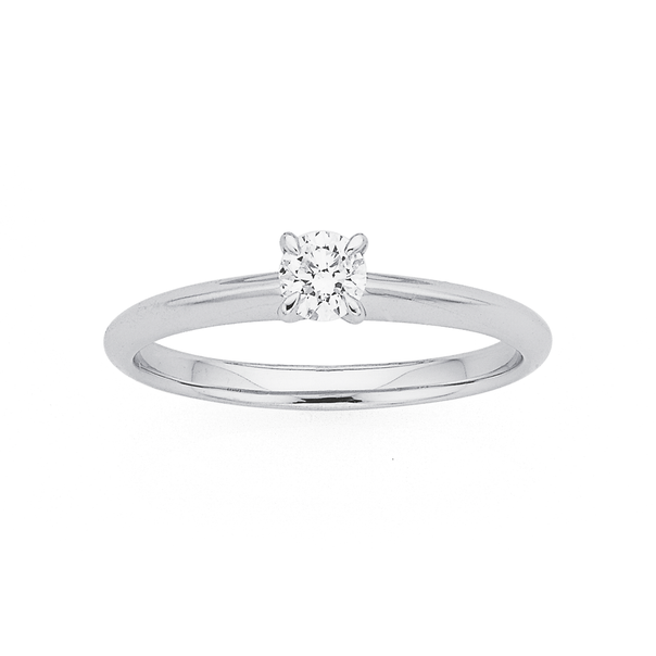 9ct White Gold Diamond Solitaire Ring TDW=.25ct