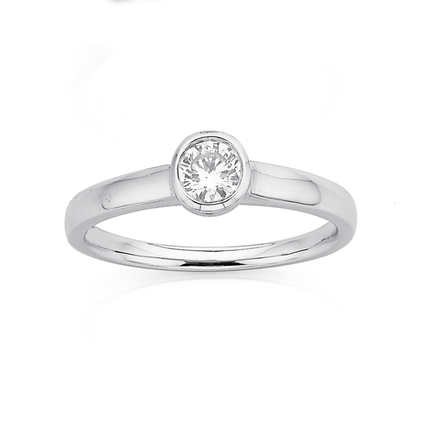 9ct White Gold Diamond Solitaire Rubover Ring TDW=.30ct