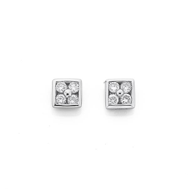 9ct White Gold Diamond Square Stud Earrings TDW=.10ct