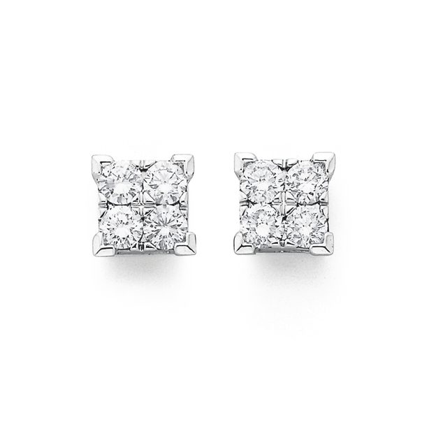 9ct White Gold, Diamond Studs