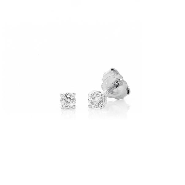 9ct White Gold Diamond Studs TDW=.10ct