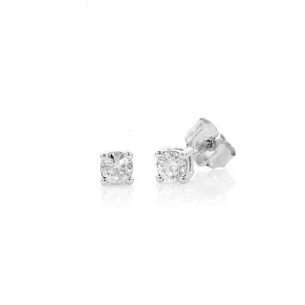 9ct White Gold Diamond Studs TDW=.20ct