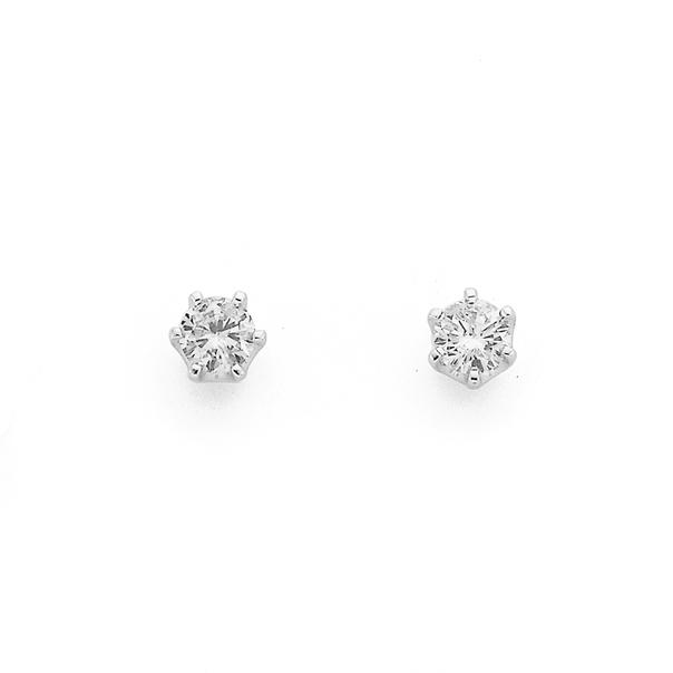 9ct White Gold Diamond Studs TDW=.25ct