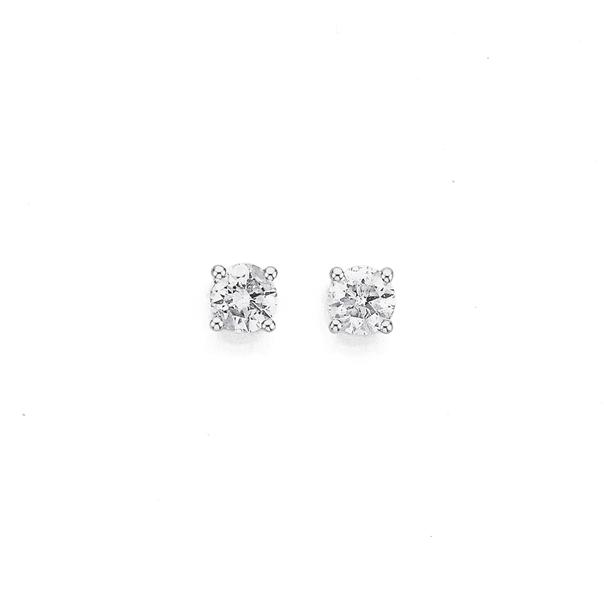 9ct White Gold Diamond Studs TDW=.50ct