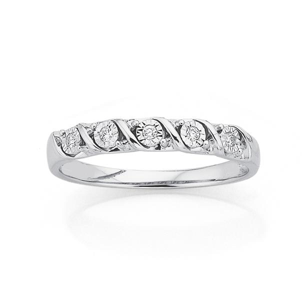 9ct White Gold Diamond Twist Ring