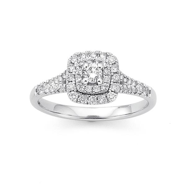 9ct White Gold Halo Cluster Diamond Ring TDW=.50ct