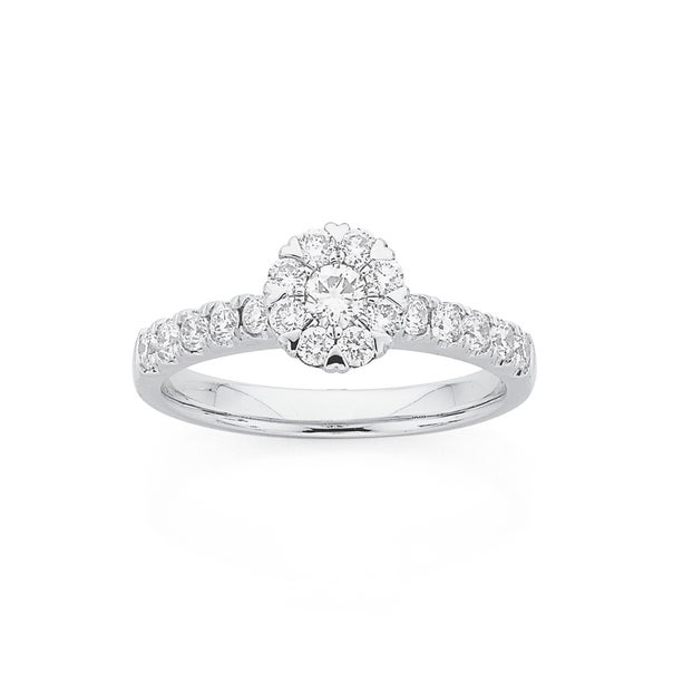 9ct White Gold Hearts Cluster Diamond Ring Total Diamond Weight=.75ct