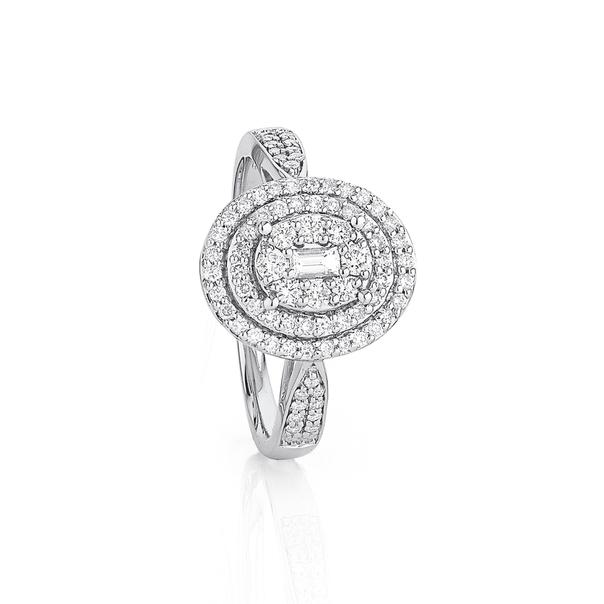 9ct White Gold Oval Halo Diamond Ring TDW=.56ct