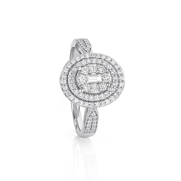 9ct White Gold Oval Halo Ring