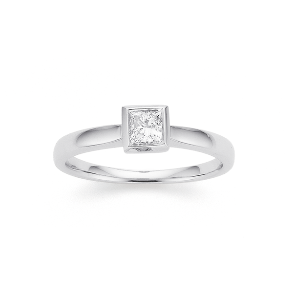 9ct White Gold Princess Cut Diamond Solitaire Rubover Ring TDW=.30ct