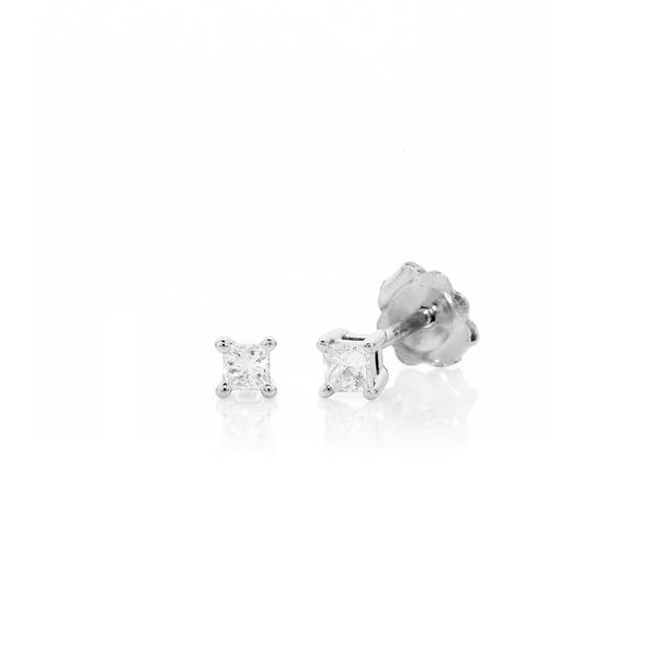 9ct White Gold Princess Cut Diamond Studs TDW=.10ct