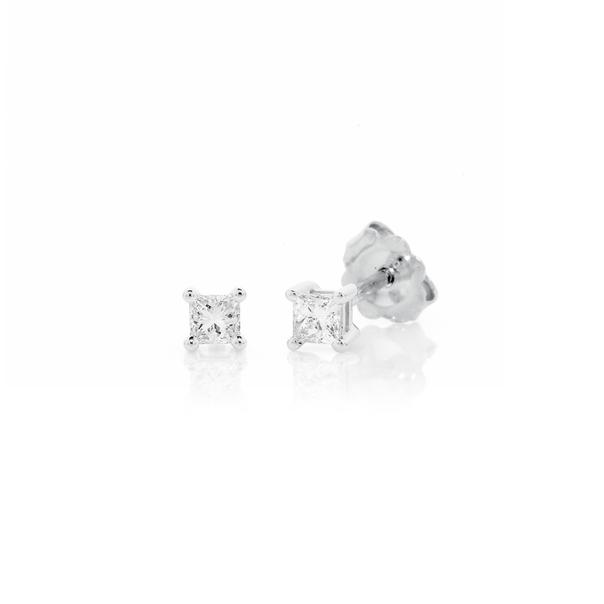 9ct White Gold Princess Cut Diamond Studs TDW=.15ct