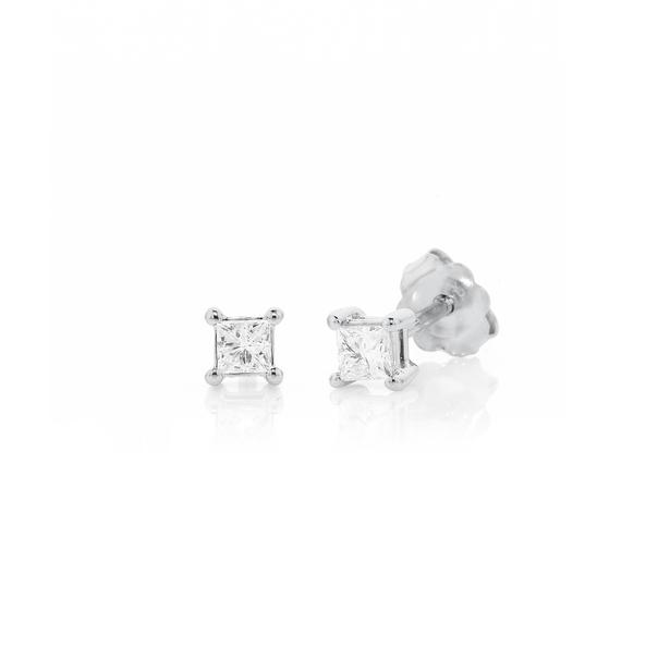 9ct White Gold Princess Cut Diamond Studs TDW=.20ct