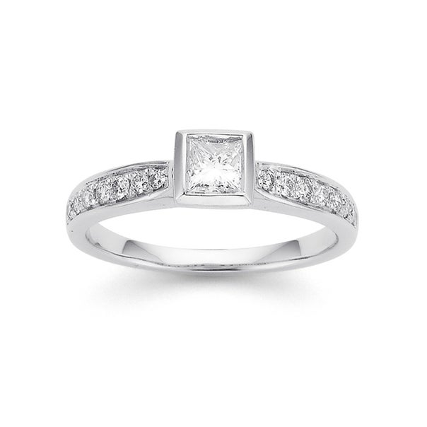 9ct White Gold Princess Cut Rubover Set with Shoulder Diamond Ring