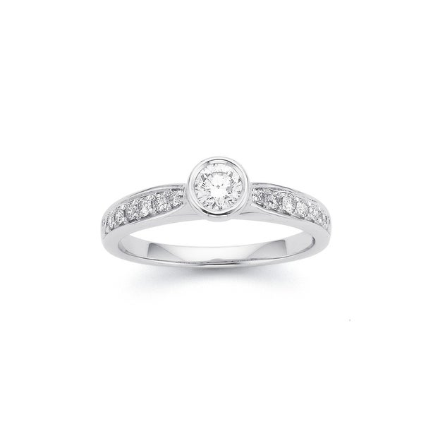 9ct White Gold Rubover Set .30ct Centre and Shoulder Diamond Ring