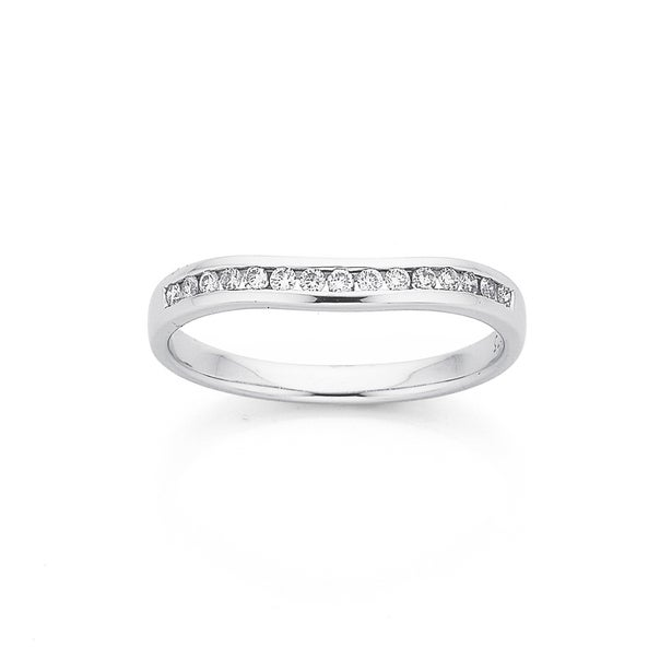 9ct White Gold Slightly Curved Diamond Band