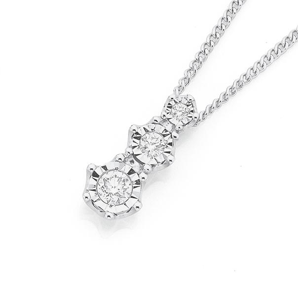 9ct White Gold Three Stone Diamond Pendant Weight=.20ct