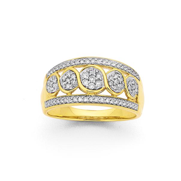 9ct Wide Diamond Dress Ring TDW=.34ct