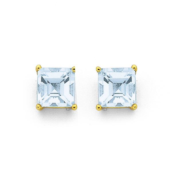 Aquamarine Stud Earrings in 9ct Yellow Gold