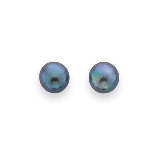 Black Freshwater Pearl Studs in 9ct Yellow Gold