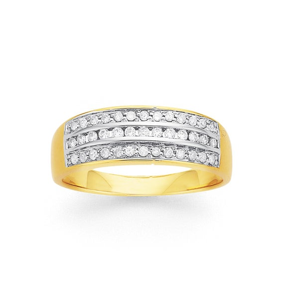 Channel Set Diamond Ring in 9ct Yellow Gold