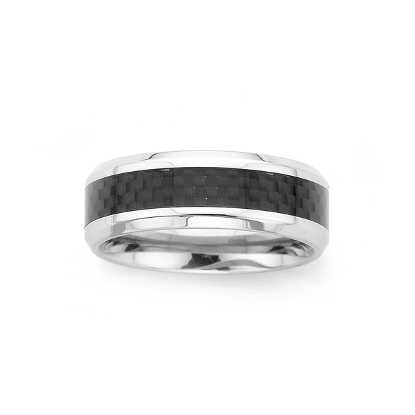 Chisel Stainless Steel Carbon Fibre Ring (Size Y)